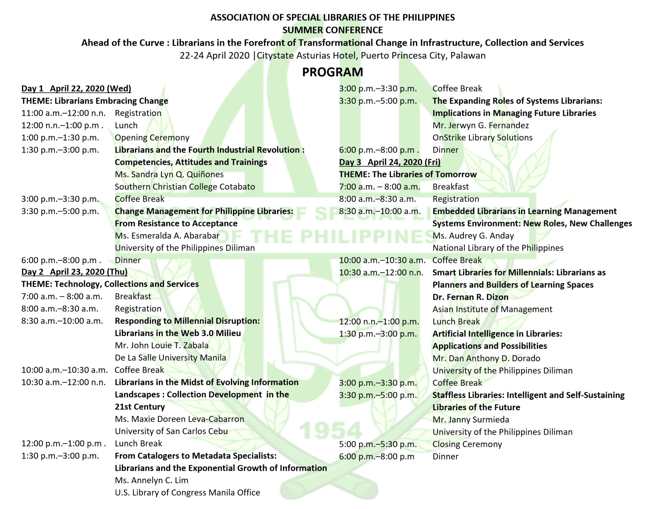 2020 ASLP Summer Conference Puerto Princesa Program