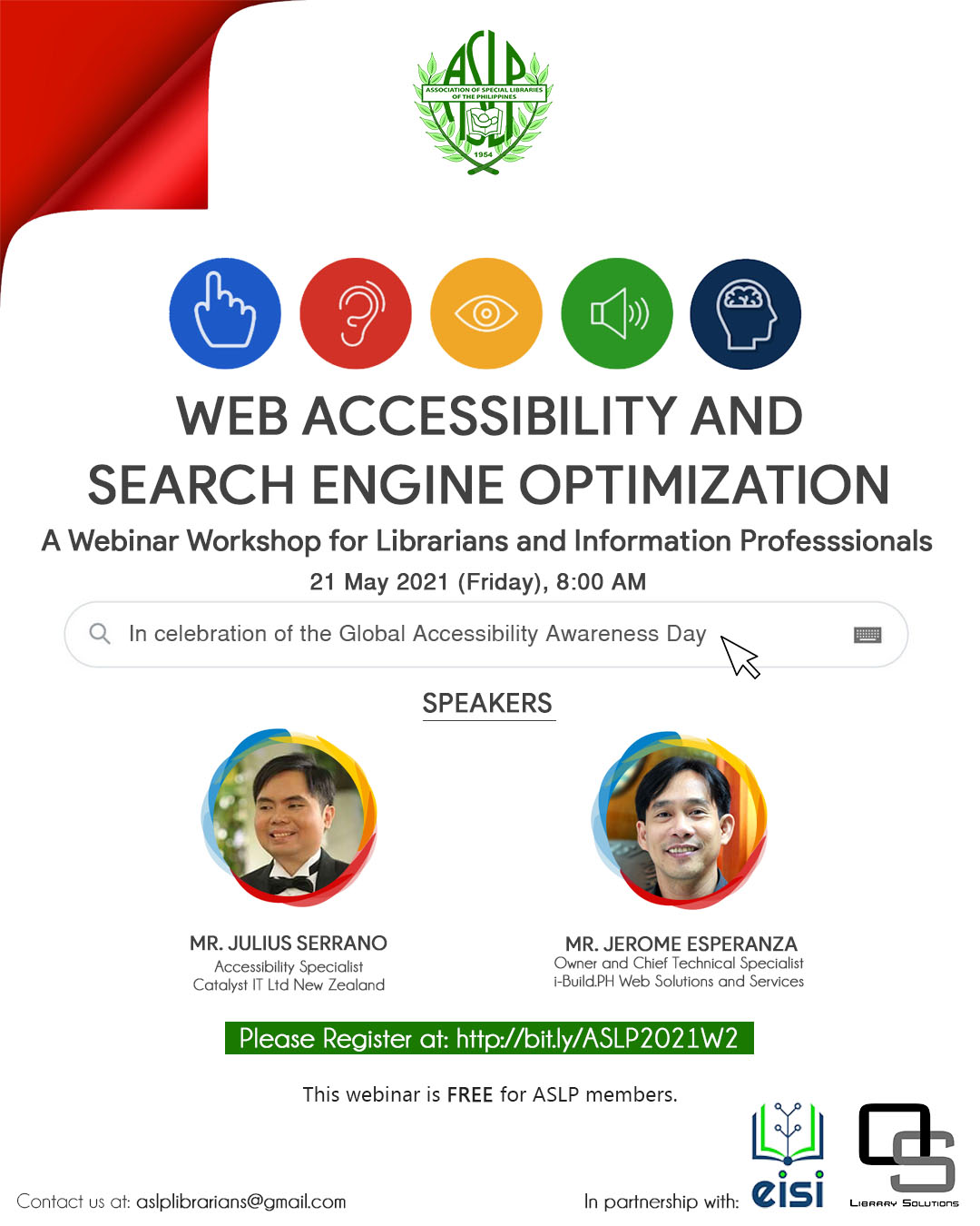 ASLP 2021 Traiblazer Webinar Series #2 poster Web Accessibility and Search Engine Optimization
